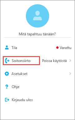 Skype for Business for iOS:n aloitusnäyttö ja Soitonsiirto-valinta