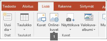 Näyttökuva online-kuvien lisäämisestä Office-sovelluksiin.