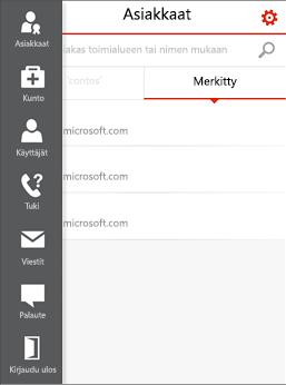 Office 365 -hallintakeskus kumppaneille – mobiilivalikko