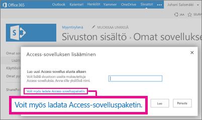 Access-sovelluspaketin lataaminen Lisää sovellus -sivulle SharePoint-sivustossa