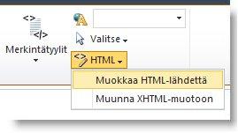 Muokkaa HTML-lähdettä -komento