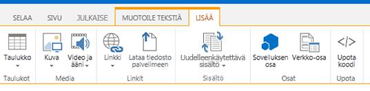 Näyttökuva Lisää-välilehdestä, jossa on painikkeet taulukkojen, videoiden, grafiikan ja linkkien lisäämiseen sivuston sivuille