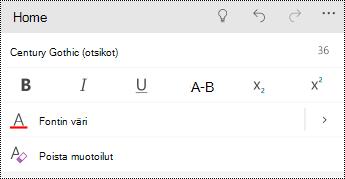 Tekstin muotoiluasetukset PowerPoint Mobile for Windows-puhelimet.