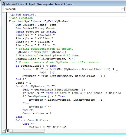 Koodi liitetty Module1 (Code) -ruutuun.