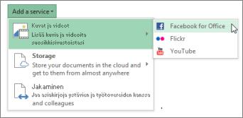 Palvelun, kuten Flickr tai Facebook for Office, lisääminen