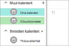iCloud-Kalenteri näkyy kohdassa Muut kalenterit Outlook Web