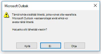 Outlookin varoitus vaarallisesta liitteestä