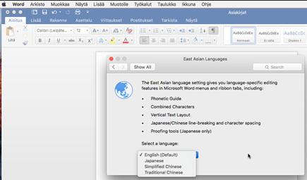 Office for Mac 2016 kielen valinta näyttö kuva