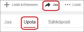 Valitse Jaa ja valitse sitten Upota.