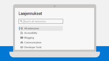 Kuva Microsoft Edgen Lisäosat-sivusta kannettavassa tietokoneessa