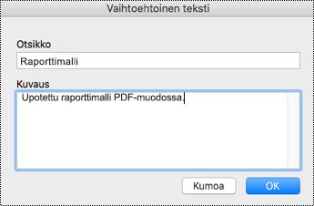 Vaihtoehtoisen tekstin lisääminen upotettuihin tiedostoihin OneNote for Macissa