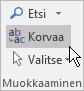 Valitse Outlookissa Muotoile teksti ja valitse Korvaa.