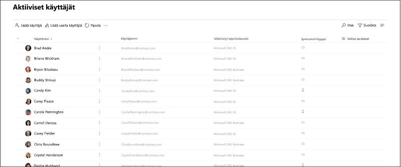 Näytön sieppaus: aktiiviset käyttäjät-sivun esikatselu