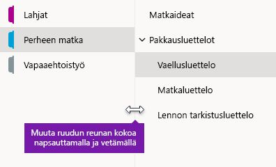 Siirtymisruutujen koon muuttaminen OneNote for Windows 10:ssä