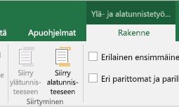 Excelin Rakenne-työkalurivin erittely