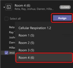 Siirrä osallistuja valitsemalla huone