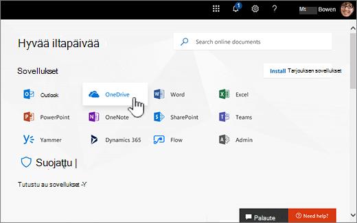 Office 365: n aloitusnäyttö, jossa OneDrive-valinta