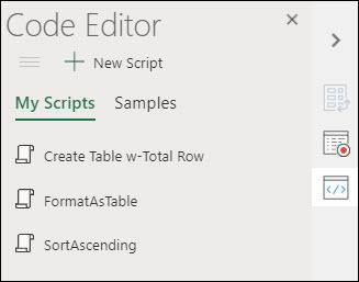 Kuva Office Scripts Code Editorista, joka näyttää kaikki tallennetut Office-komentosarjat.