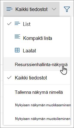 Kaikki tiedostot -valikko, jossa Avaa Resurssienhallinnassa -vaihtoehto näkyy korostettuna