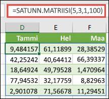 SATUNN.MATRIISI-funktio, jossa on minimi-, maksimi- ja desimaaliargumentit