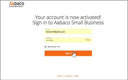Kirjaudu sisään-sivulla Aabaco Small Business