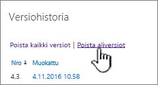 Versio-valintaikkuna, jossa Poista aliversiot -vaihtoehto näkyy korostettuna