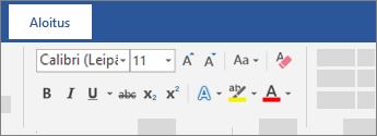 Tekstin muotoiluasetukset Wordin valintanauhassa