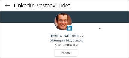Profiilikortti, jossa näkyy LinkedIn-kuva, otsikko ja Yhdistä-painike