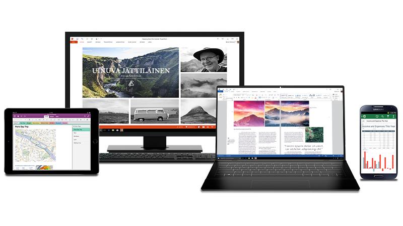 Kuva tietokoneesta, iPadista ja Android-puhelimesta, joiden näytöissä on auki Office-tiedostoja.