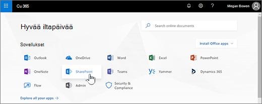Office 365: n aloitussivu, jossa on SharePoint valittuna