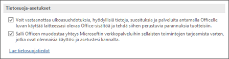 Valvontakeskuksen tietoturva-asetukset-valintaikkunan tietosuoja-asetukset-osassa