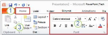 Esimerkki PowerPoint-valintanauhasta. Elementit.