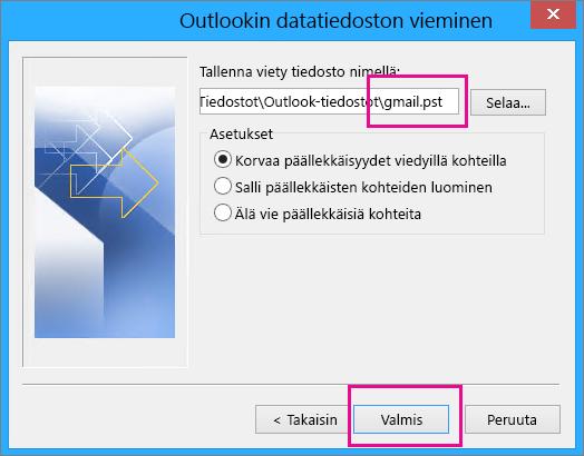 Selaa sijaintiin, johon haluat luoda .pst-tiedoston tallennettavia Gmail-viestejä varten, ja kirjoita .pst-tiedoston nimi.