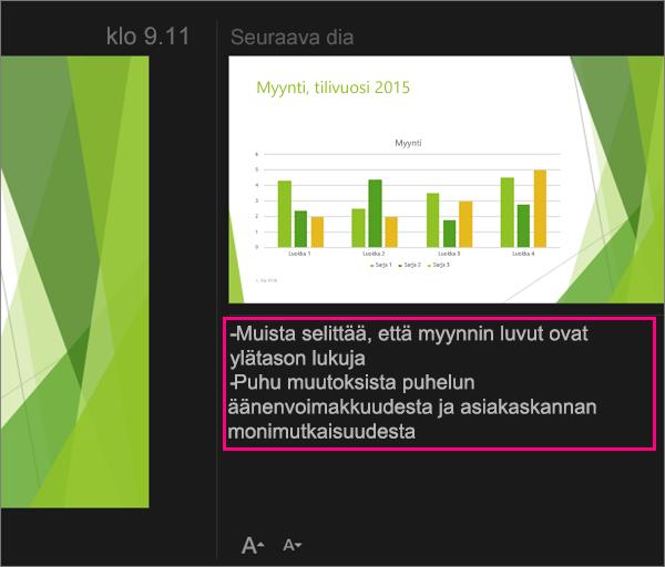 Näyttää muistiinpanot PowerPoint 2016 for Macin esittäjänäkymässä