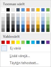 Valintanauhan Sivun väri -vaihtoehdot