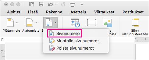 Lisää sivunumero valitsemalla Ylä- ja alatunniste -välilehden Sivunumero-valikosta Sivunumero.