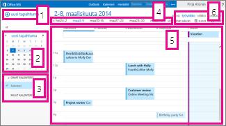 Kalenterin viikkonäkymä