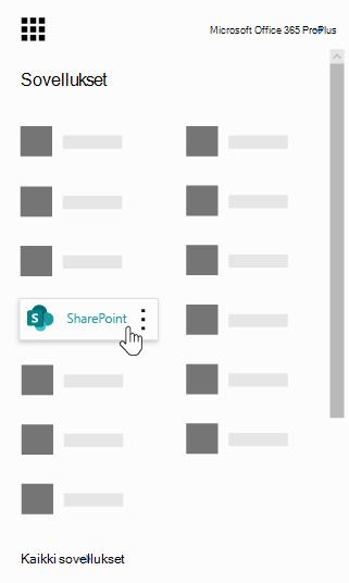 Office 365: n sovellusten käynnistin korostettuna SharePoint-sovelluksen kanssa