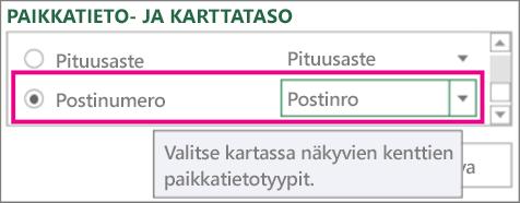 Postinumero yhdistettynä Zip-koodiin