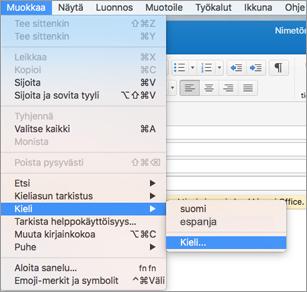 Outlook 2016 for Macin Muokkaa > Kieli -valikko