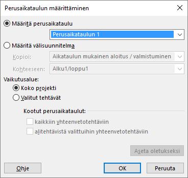 Näyttökuva Määritä perusaikataulu -valintaikkunasta.