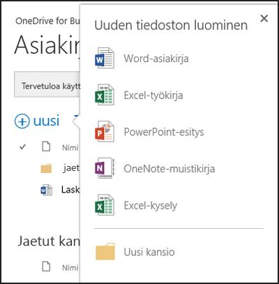 OneDrive for Business -palvelussa Uusi-painikkeella näkyviin tulevat Office Online -vaihtoehdot