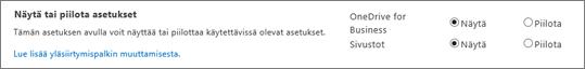 SPO SharePoint -asetusten näyttämis- ja piilotustoimintojen osio