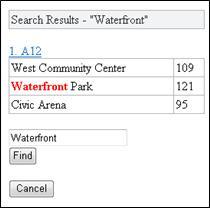 Excel Mobile -katseluohjelman hakutulokset