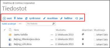 OneDrive for Businessin pikatyökalurivi