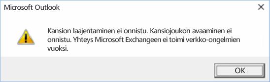 Outlook 2016:n virhe - kansiota ei voi laajentaa