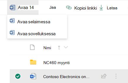 Voit avata tiedoston selaimessa tai Office-työpöytä sovelluksessa.