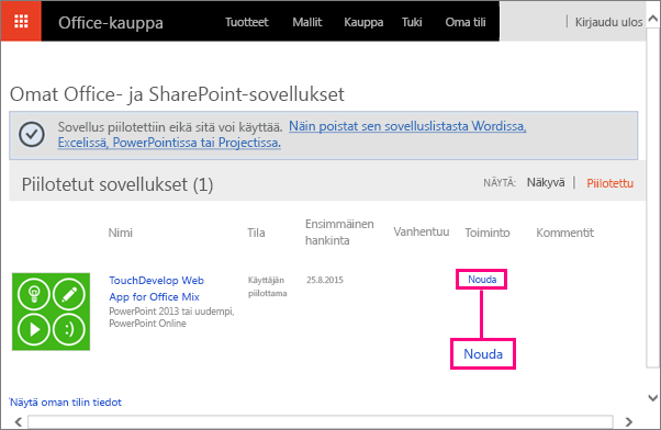 Officen ja SharePointin sovellussivuston Nouda-linkki