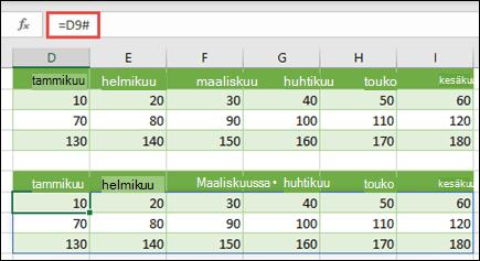 Olemassa olevaan matriisiin viittaminen käyttämällä vuotanut Range-operaattoria (#)