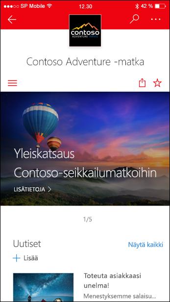 SharePoint-viestintäsivusto mobiililaitteessa